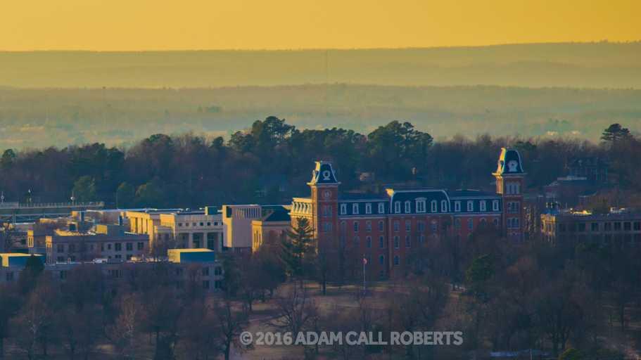University of Arkansas campus at sunset