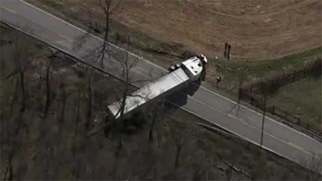 Tractor-trailer overturns on Mount Carmel Road in Upperco