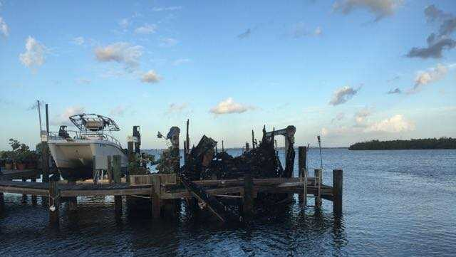 Two boats were destroyed during an overnight fire on a dock along Ocean Boulevard.