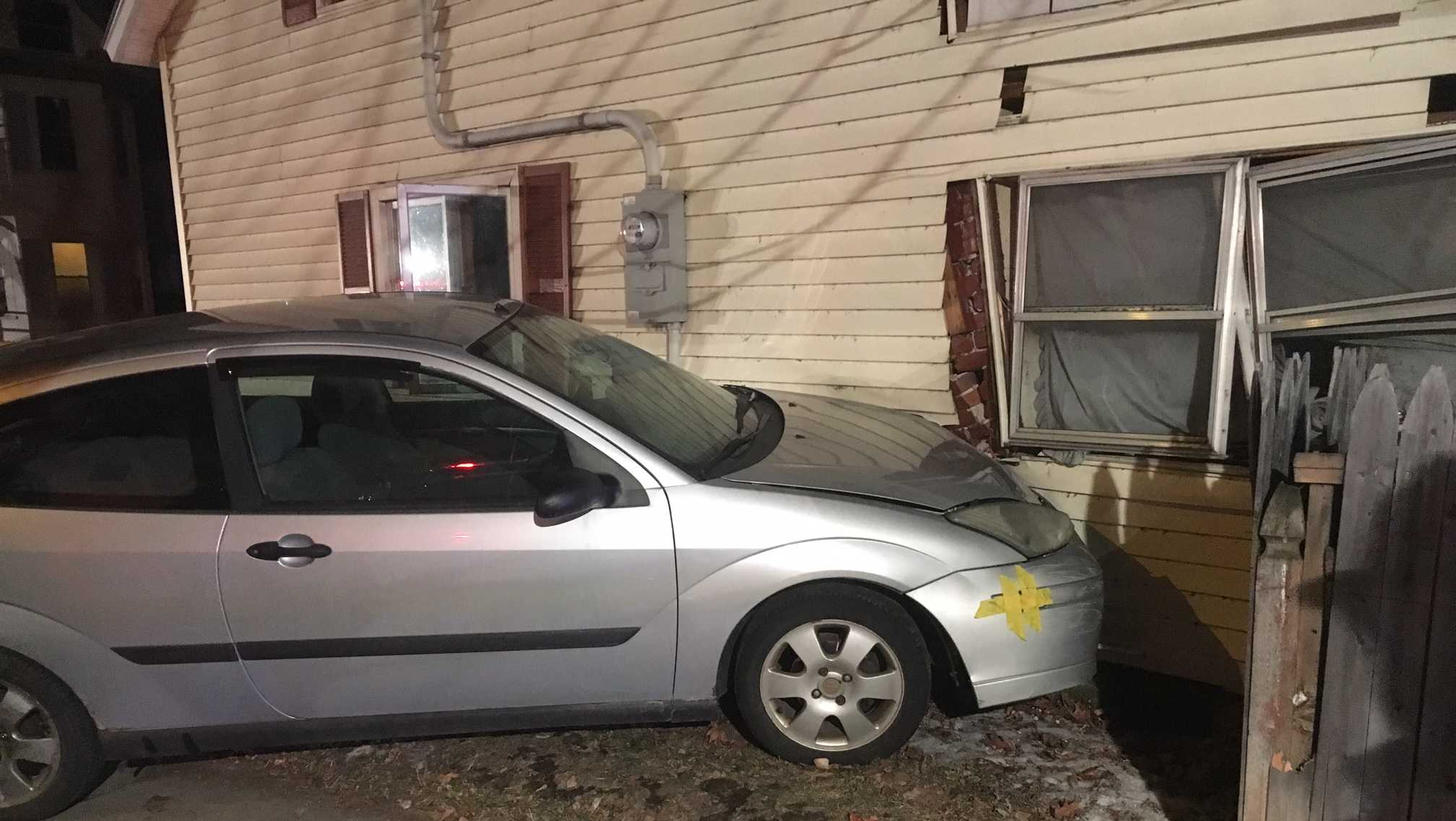 A vehicle collided with a home in Burlington Monday night, causing structural damage.