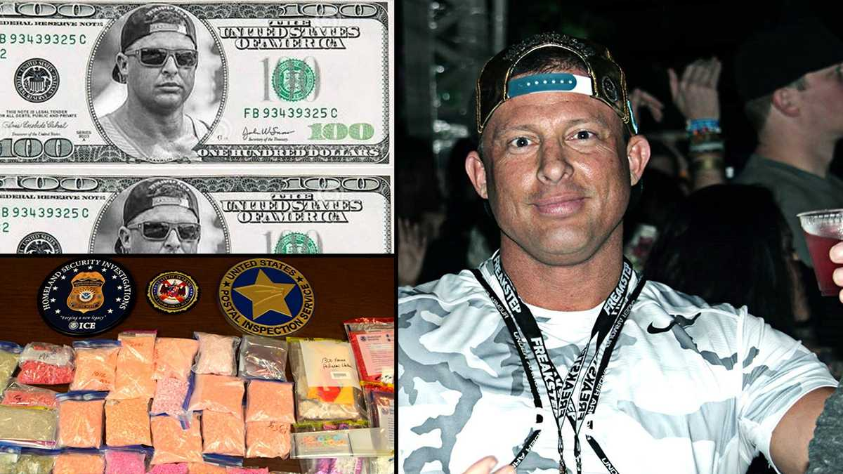 Photos of Woodie Ochle and the $100 bills with his face are pulled from his Freakstep website. Other photo is of some of the drugs confiscated in the investigation.