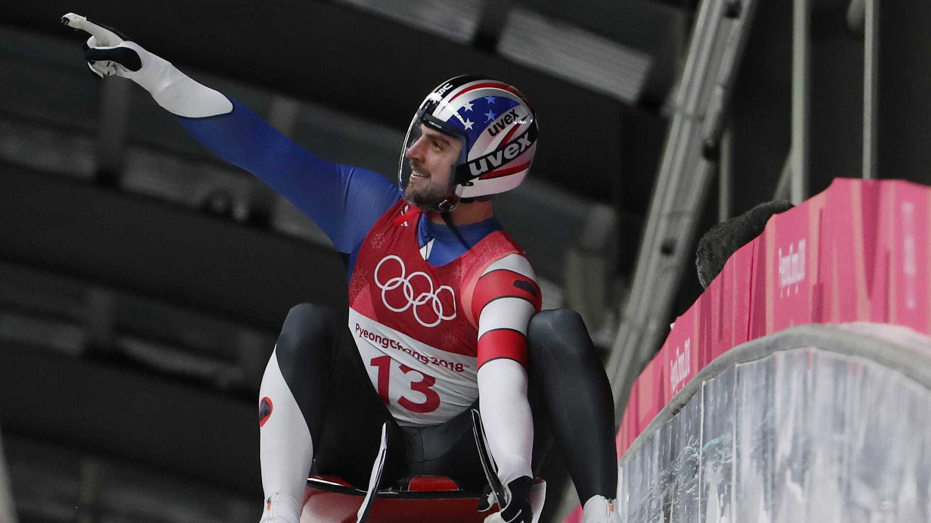 Chris Mazdzer reacts after the third run of the men's single luge in the Pyeongchang 2018 Olympic Winter Games.