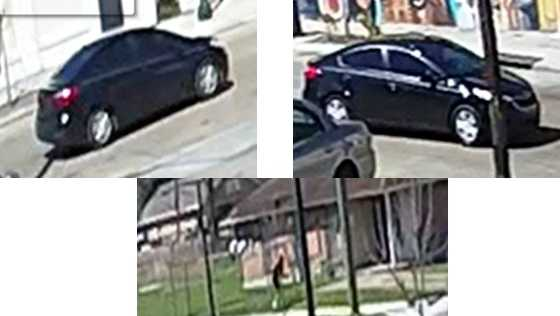 New Orleans police are seeking the suspects who fired from this car in a shootout on March 14 at Newton and Wagner Streets.