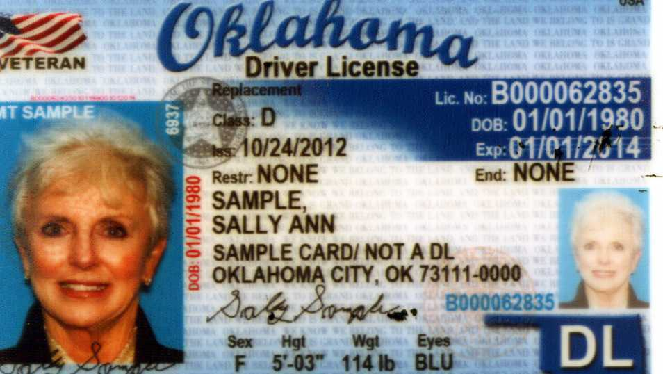 Sample Oklahoma Driver License