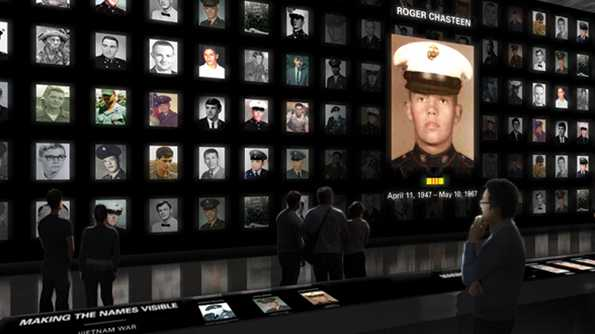 The Wall of Faces honors those who fought in the Vietnam War.