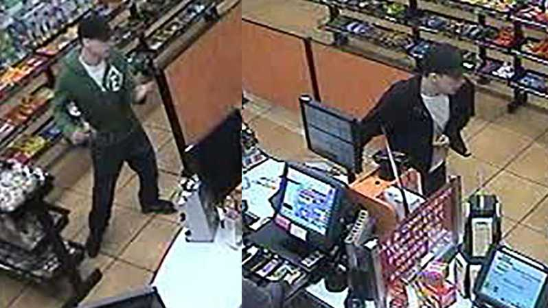 Surveillance images of a suspect in two Sheetz robberies