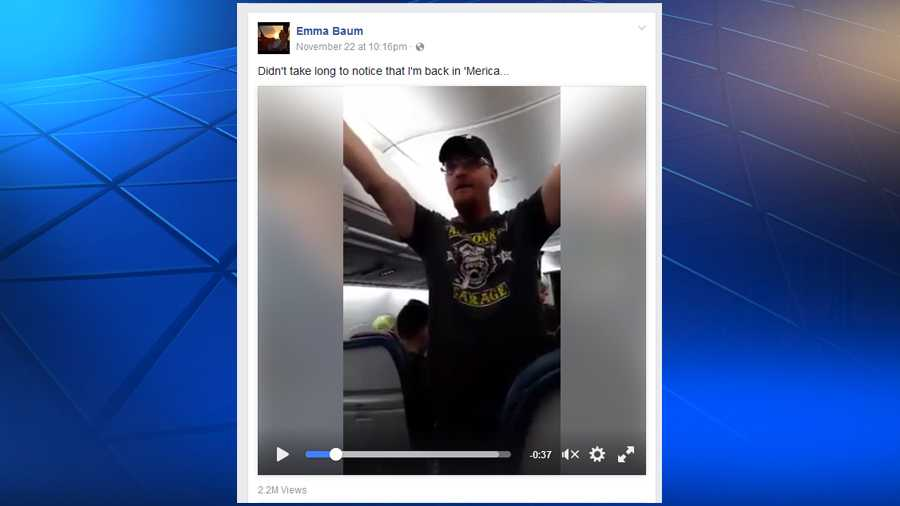 A screenshot from Emma Baum's Facebook video of a man's pro-Donald Trump rant on an airplane.