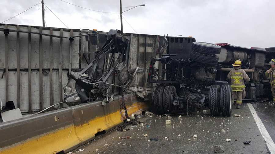 A tractor-trailer crash on Interstate 70.