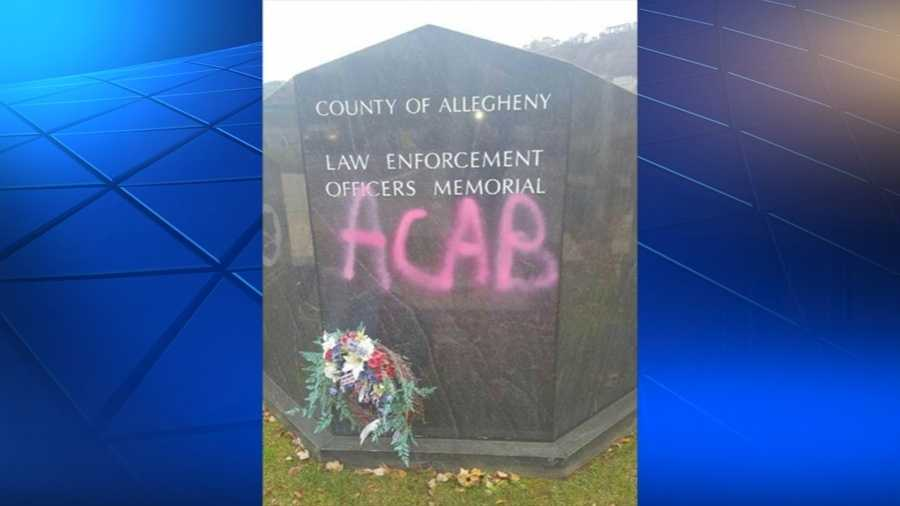 Graffiti was sprayed on the Law Enforcement Officers Memorial.