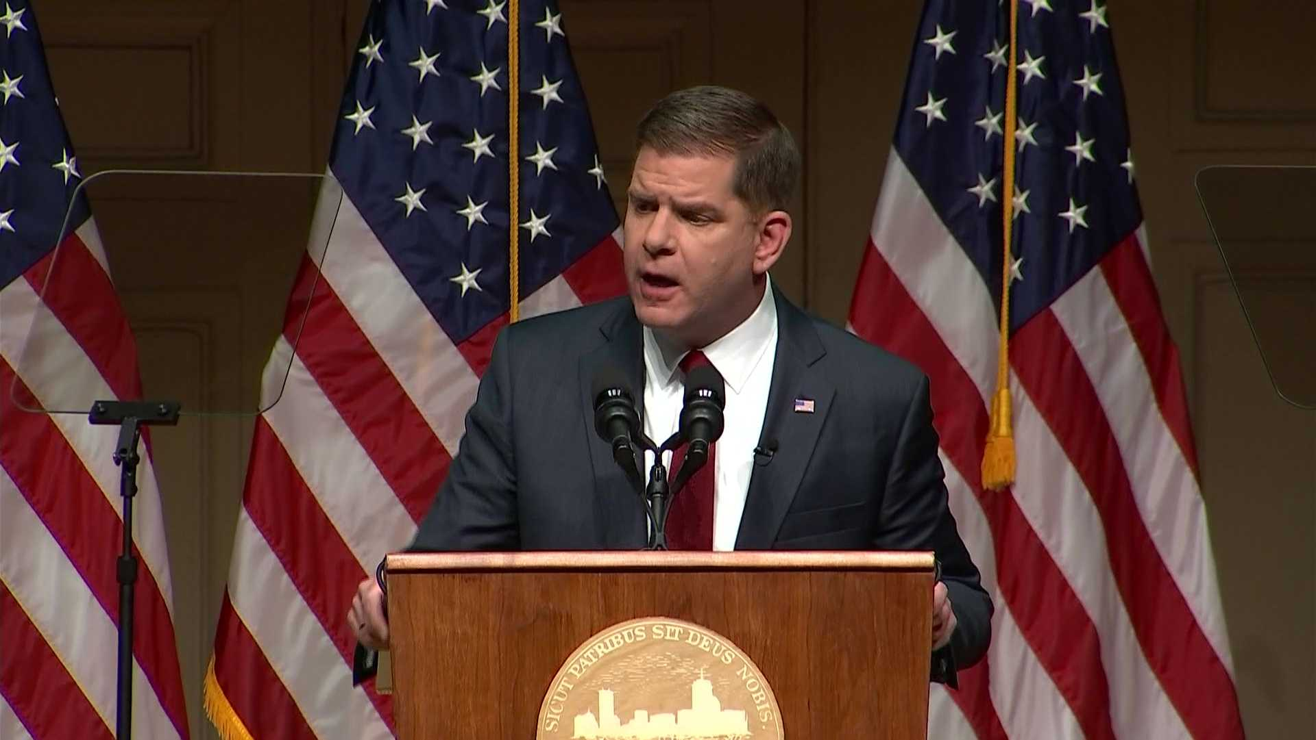 Marty Walsh speaks at the State of the City address in Boston