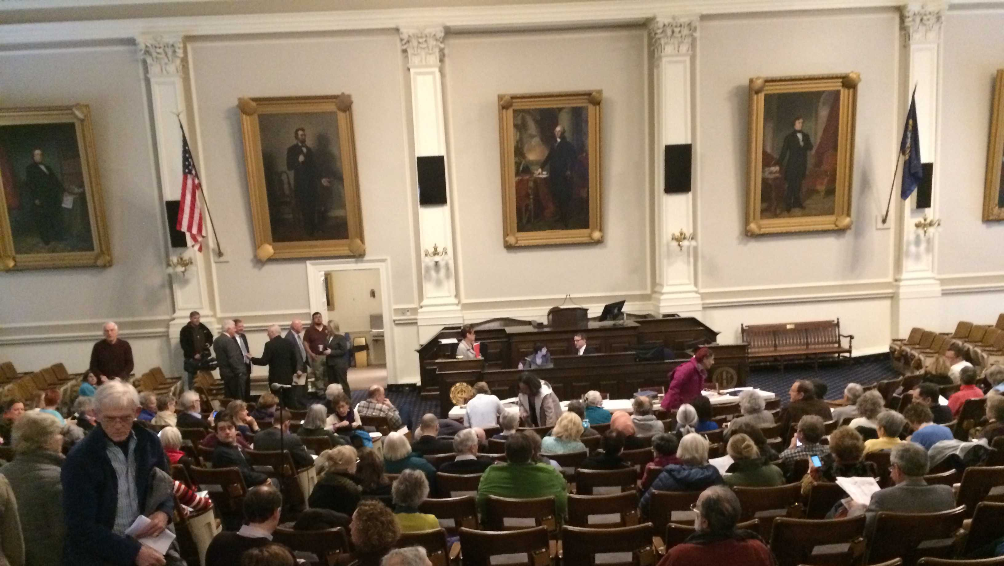 A large crowd turned out at Representatives Hall at the State House on Tuesday for a Senate Election Law Committee public hearing on an election law reform bill.