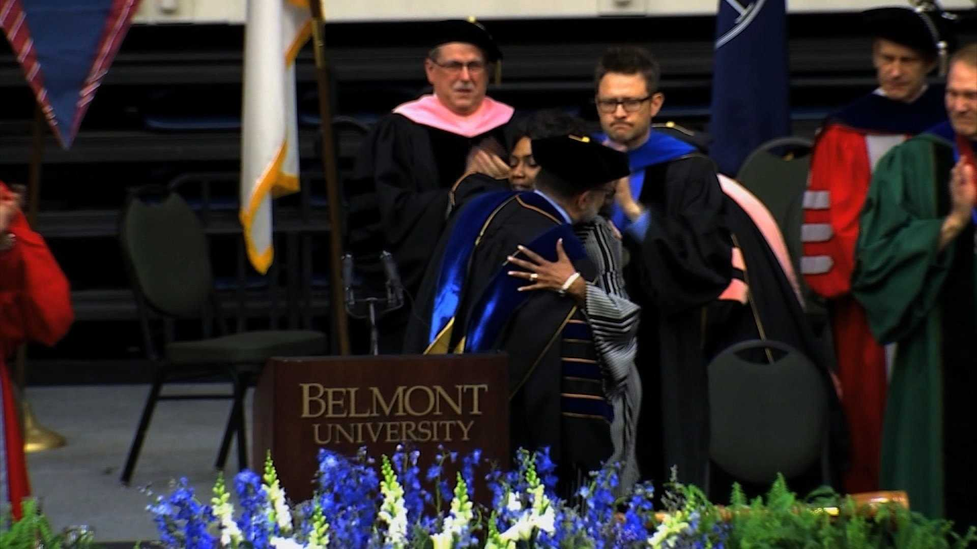 Shirl Baker received a posthumous degree from Belmont University in her daughter's honor on Saturday.
