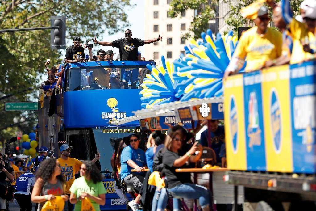 Draymond Green soaks in the atmosphere during championship parade