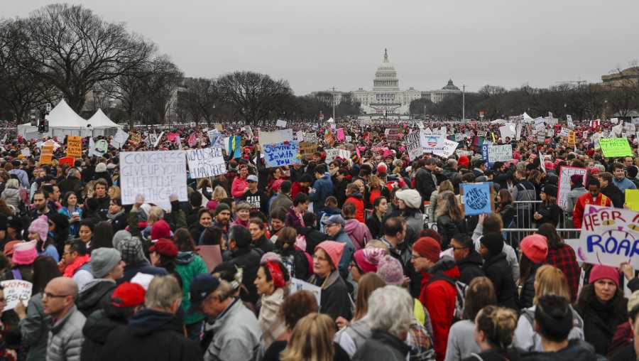 Protesters gather on the National Mall for the Women's March on Washington during the first full day of Donald Trump's presidency, Saturday, Jan. 21, 2017 in Washington.