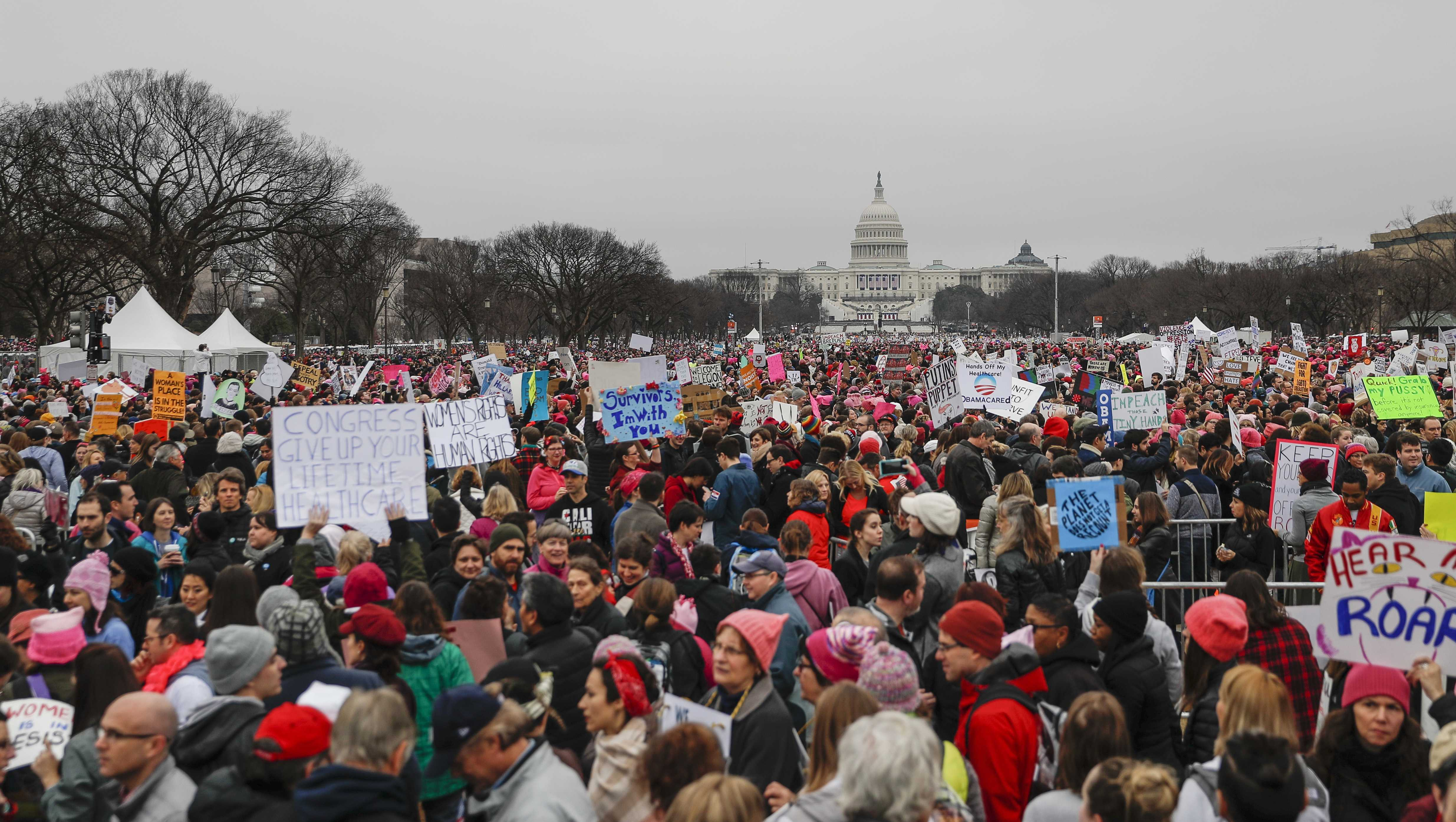 Participants gather for the Women's March on Washington on Independence Ave. on Saturday, Jan. 21, 2017 in Washington.