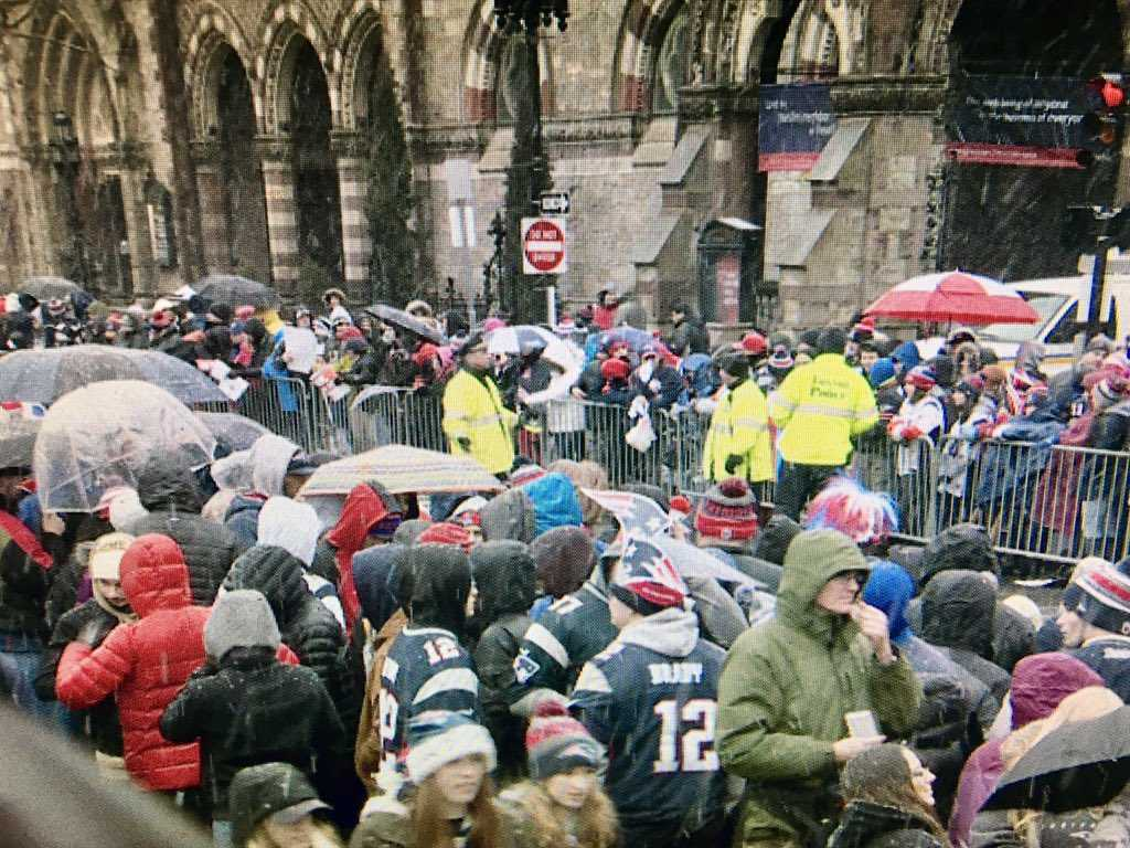 Huge crowd waits for the parade in Copley Square