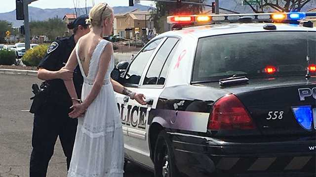 Marana, Arizona, police said a woman was arrested for driving under the influence on the way to her wedding.