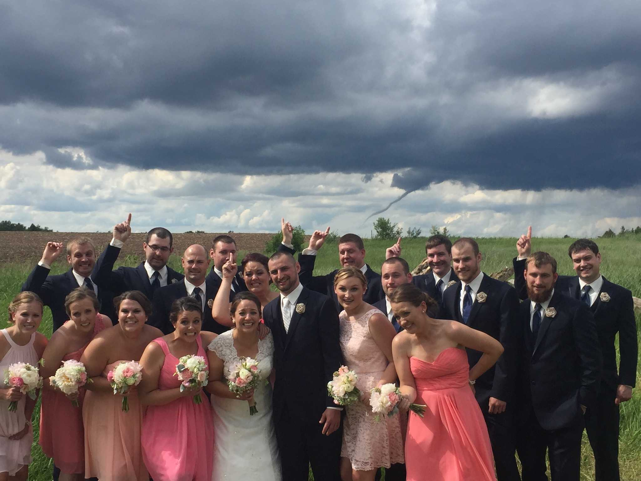 Funnel cloud photobombs wedding photo | WXII 12