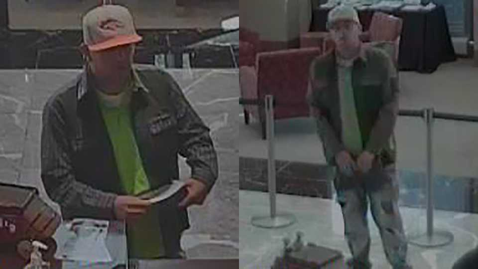 Surveillance images of bank robbery suspect at downtown Wells Fargo