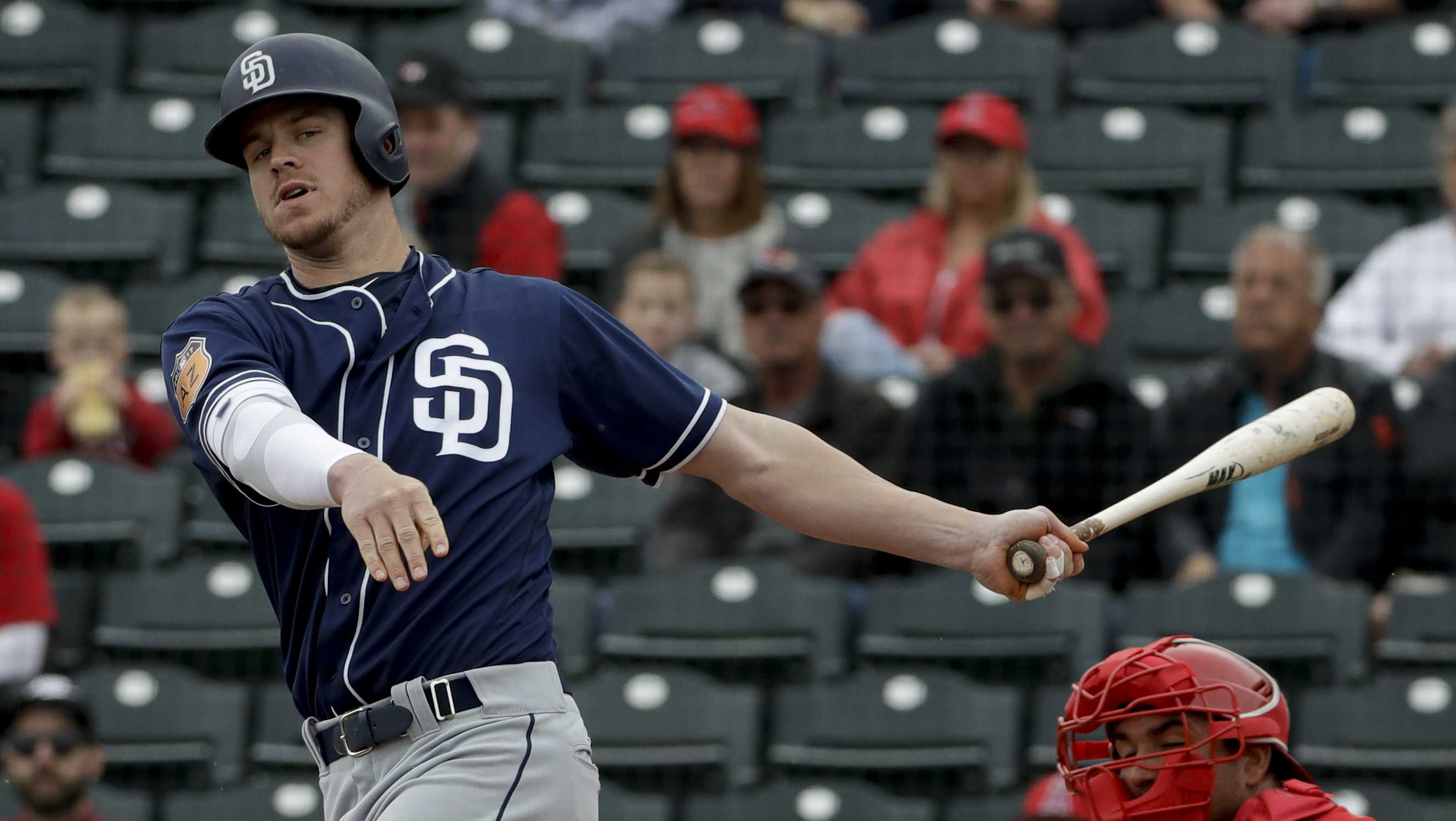 San Diego Padres' Wil Myers bats against the Los Angeles Angels during a spring baseball game in Tempe, Ariz., Monday, Feb. 27, 2017.