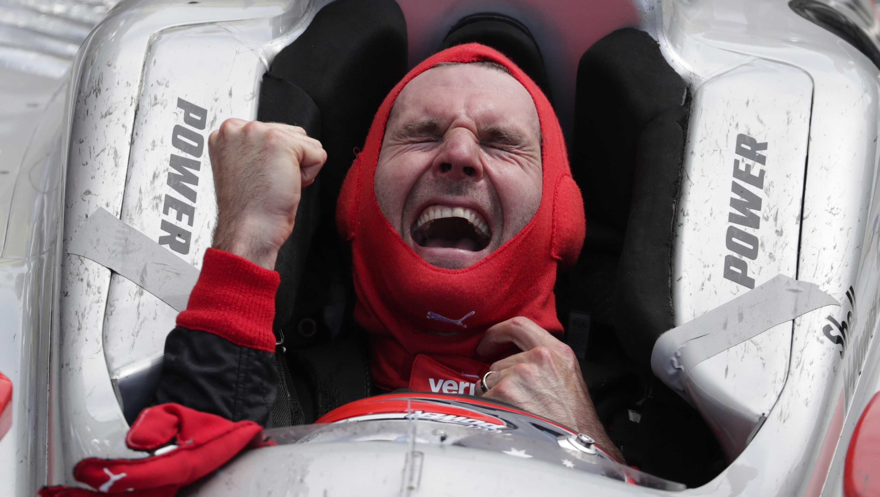 Will Power, of Australia, celebrates after winning the Indianapolis 500 auto race at Indianapolis Motor Speedway in Indianapolis, Sunday, May 27, 2018.
