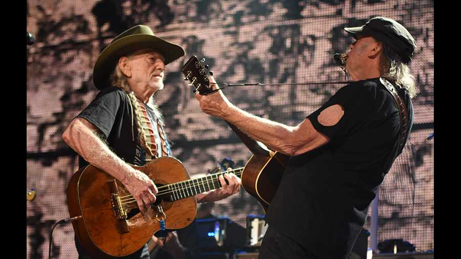 Willie Nelson and Neil Young at Farm Aid