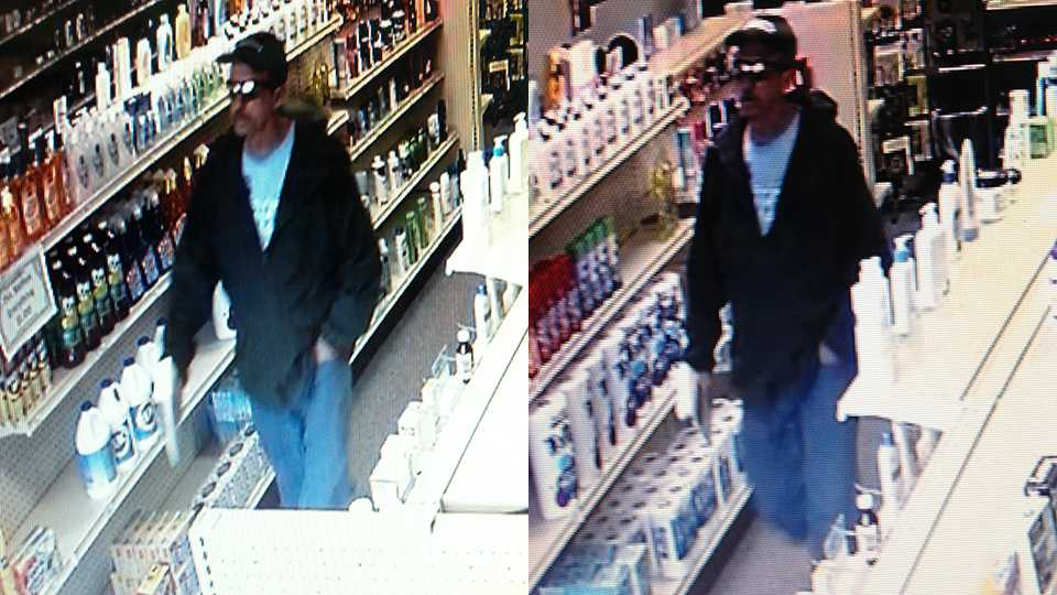 Surveillance image of suspect in robbery at Jonestown Pharmacy