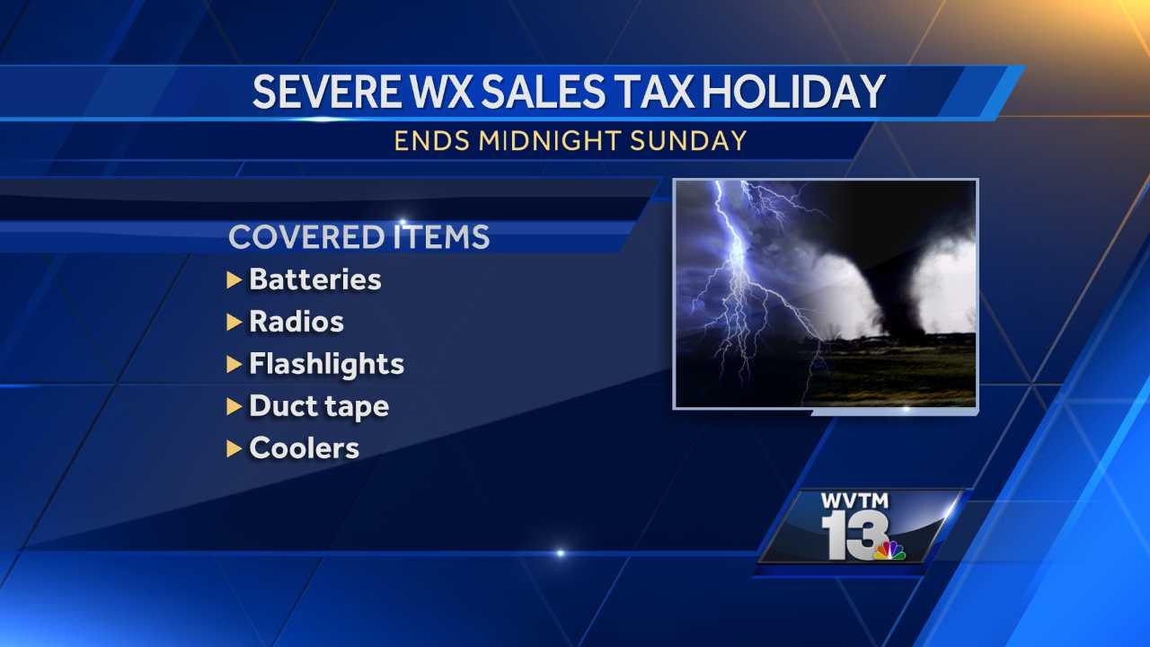 Alabama Severe Weather Preparedness Sales Tax Holiday