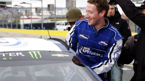 Facebook ceo takes laps around speedway with nascar 39 s dale for Charlotte motor speedway zip code