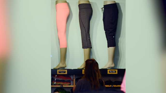 Clothing made by Lululemon Athletica Inc. is on display for sale on March 19, 2013 in Pasadena, California.