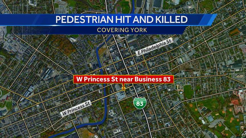 Pedestrian hit and killed in York, map