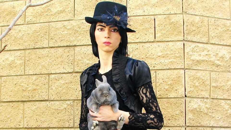 Nasim Aghdam poses with a bunny