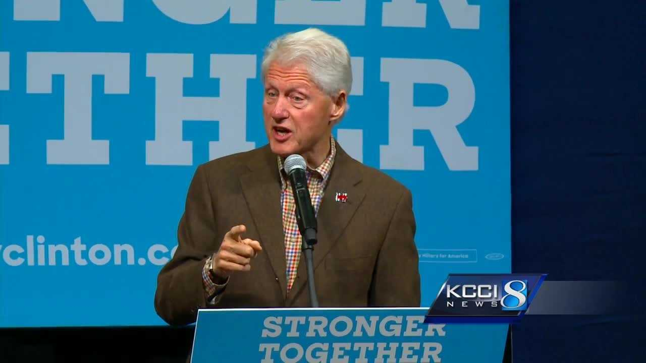 Former President Bill Clinton campaigned for his wife, 2016 Democratic presidential nominee Hillary Clinton, in Iowa.
