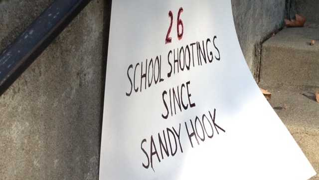 Opponents of gun violence drew attention Saturday to the more than two dozen school shootings that have happened in the U.S. since the massacre at Sandy Hook one year ago.