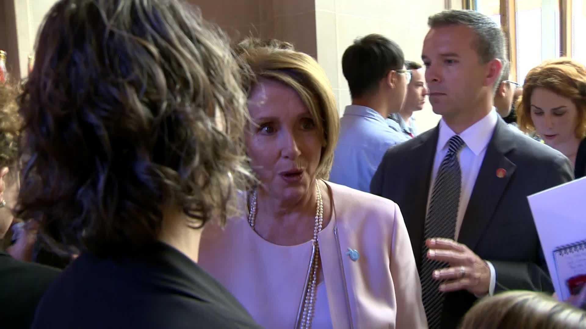 """House Democratic Leader Nancy Pelosi spoke with KCRA 3's David Bienick on Friday about SCOTUS' same-sex marriage decision, and said """"we're just thrilled"""" with the news."""