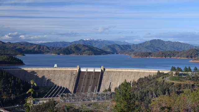 Lake Shasta's water level is about 35 feet from the top of the dam.