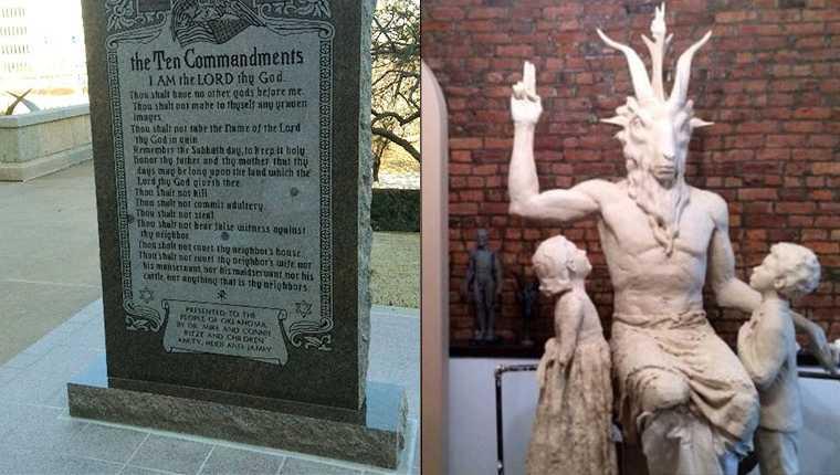 10 commandments baphomet statues