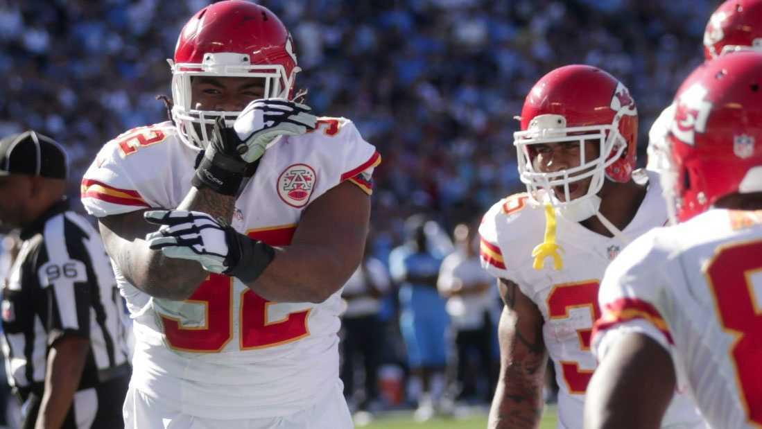 Dontari Poe celebrates after scoring on a 1-yard touchdown run in the Chiefs 33-3 win over San Diego.