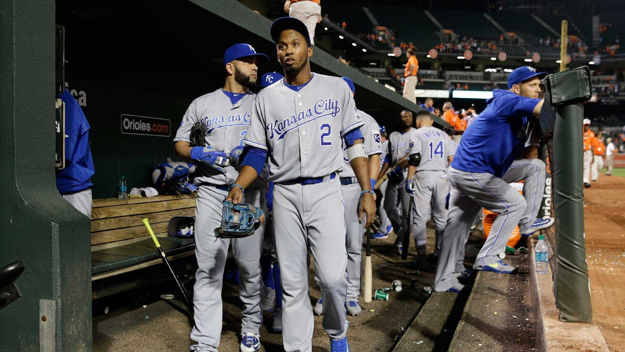 Kansas City Royals' Alcides Escobar (2) walks out of the dugout after a baseball game against the Baltimore Orioles in Baltimore, Monday, June 6, 2016. Baltimore won 4-1. (AP Photo/Patrick Semansky)
