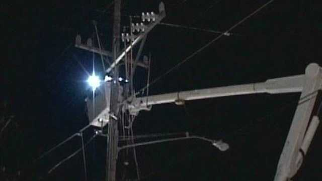 Many people were left in the dark after strong winds knocked power lines down.