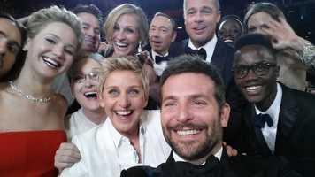 Jared Leto, Jennifer Lawrence, Channing Tatum, Meryl Streep, Ellen DeGeneres, Julia Roberts, Kevin Spacey, Brad Pitt, Lupita Nyong'o, Angelina Jolie, Peter Nyong'o Jr., and Bradley Cooper