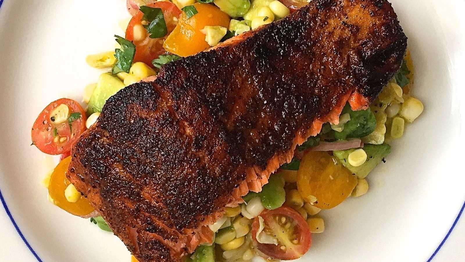 Blackened Salmon with Corn, Tomato, and Avocado Salad