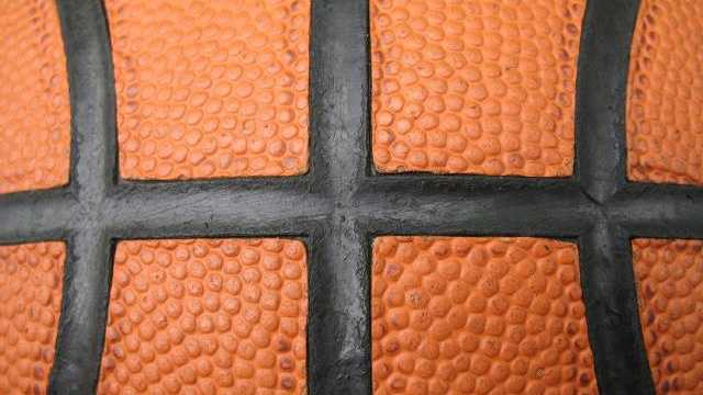 closeup of basketball seams, ball