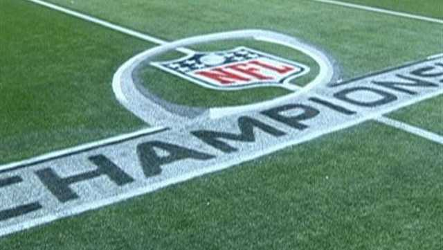 The AFC Championship game logos have been painted onto the field at the stadium in Foxborough, Massachusetts.