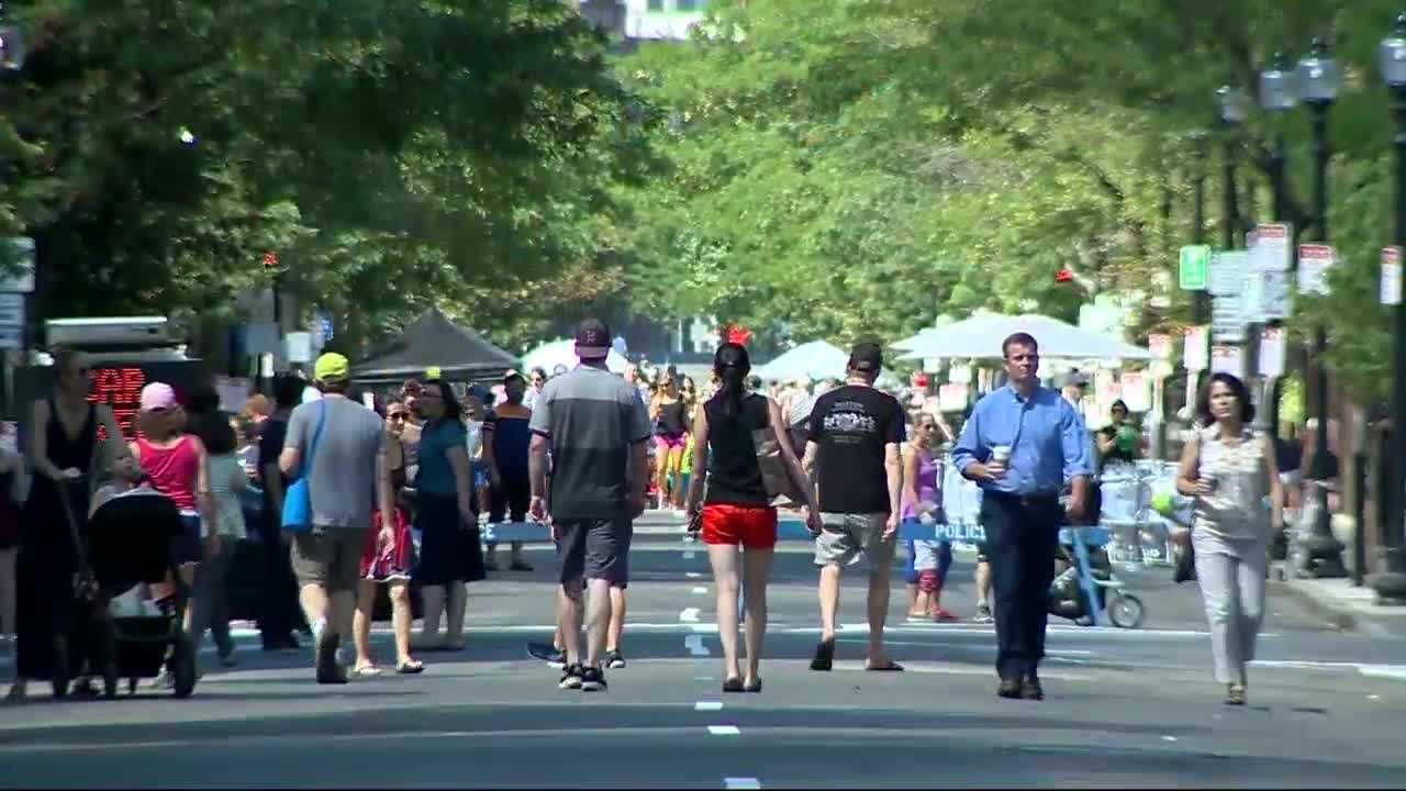 Boston's Newbury Street, home to dozens of shops and restaurants, was missing something Sunday: cars. The city transformed the street into a pedestrian walkway for a day, as a test.