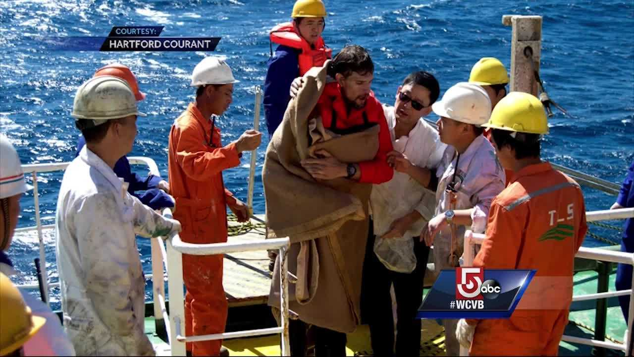 New video shows Nathan Carman being rescued at sea by a crew of a passing freighter.