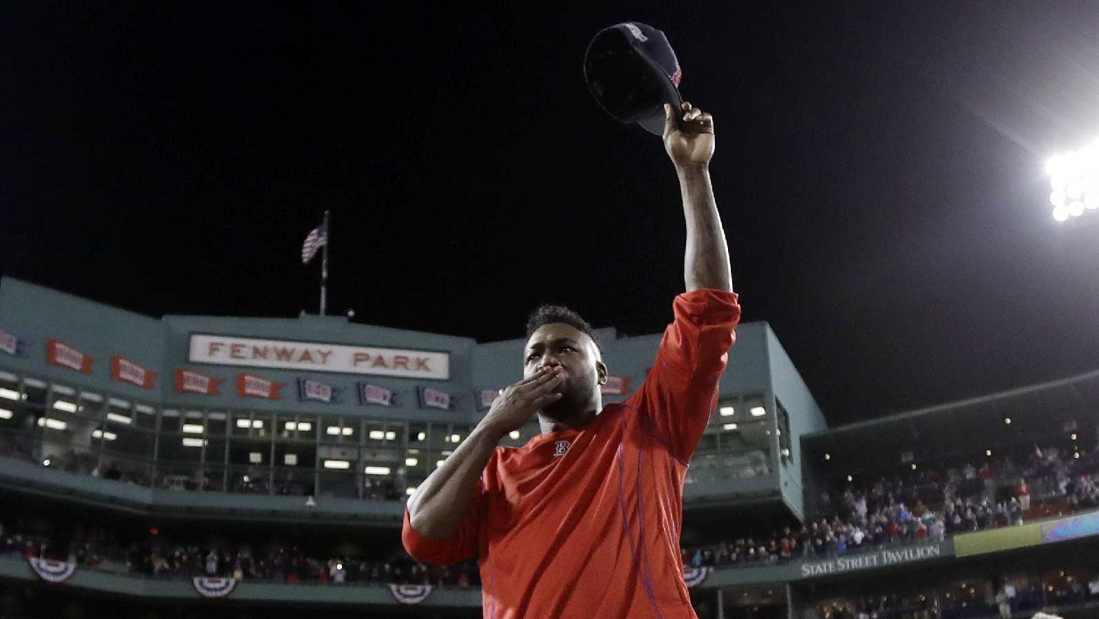 Boston Red Sox's David Ortiz blows a kiss from the mound at Fenway Park after Game 3 of baseball's American League Division Series against the Cleveland Indians, Monday, Oct. 10, 2016, in Boston. The Indians won 4-3 to sweep the Red Sox in the series. Ortiz said he will retire at the end of the season.
