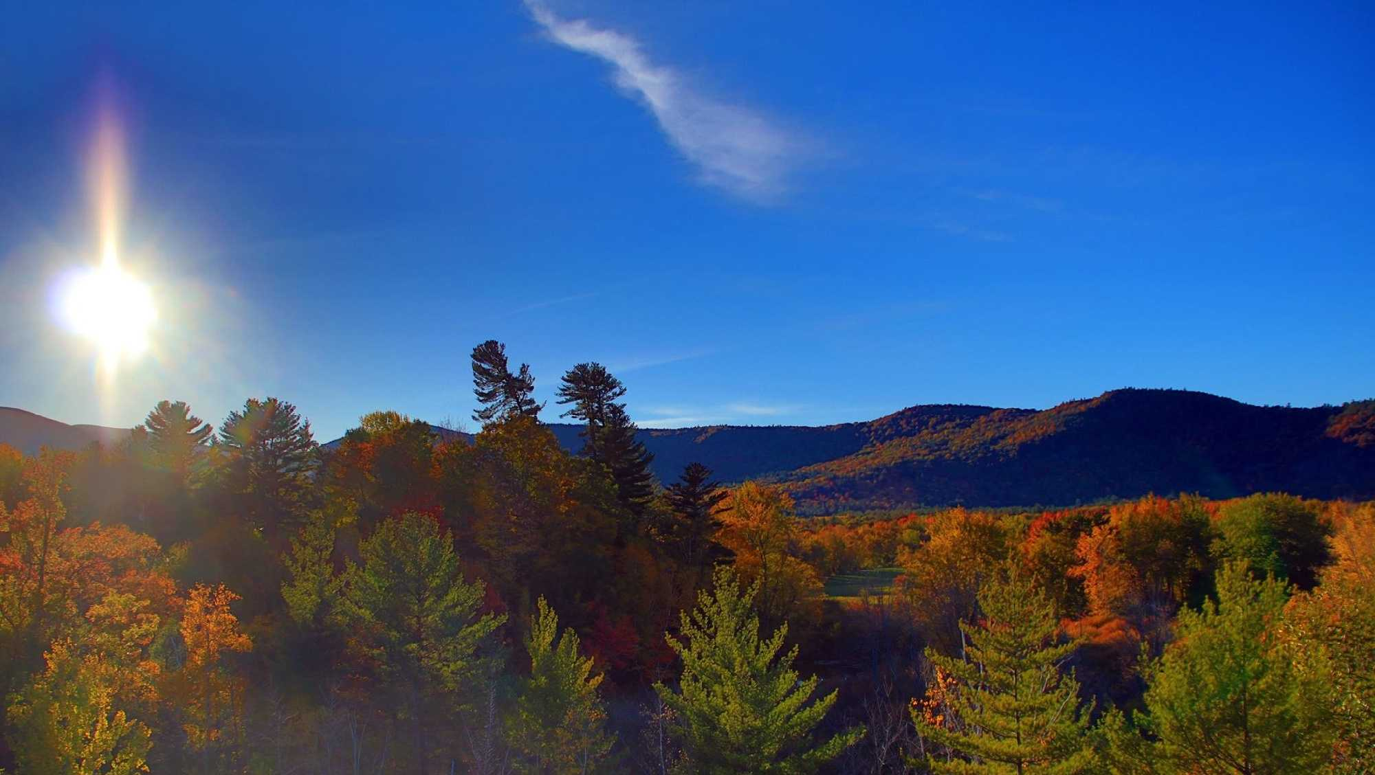 Beautiful fall foliage + blue skies + sunset = Incredibly peaceful moment.