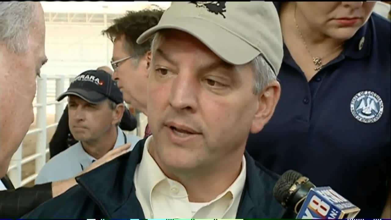 Gov. John Bel Edwards spoke to members of the media after traveling to St. Tammany Parish and visiting areas affected by recent severe weather and flooding.