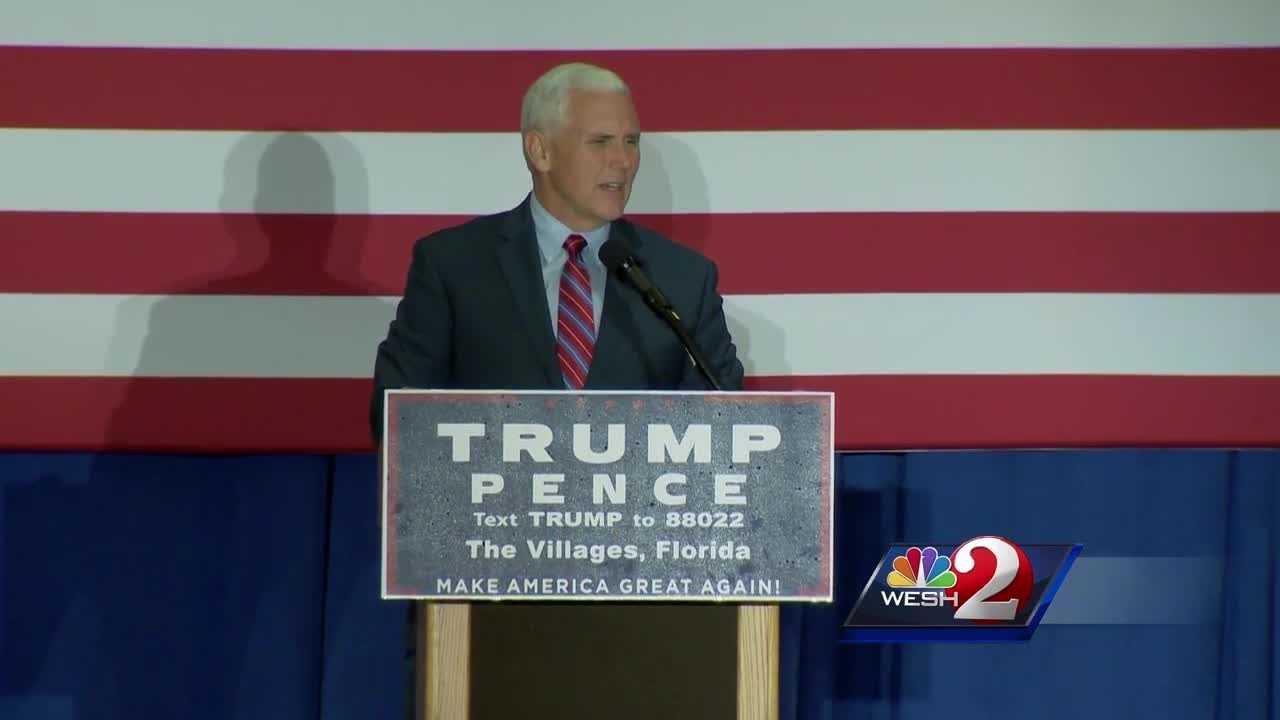 Donald Trump's vice presidential nominee Mike Pence held a rally in The Villages Saturday.
